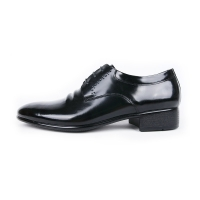 Men's plain toe double wrinkle black leather punching lace up oxfords