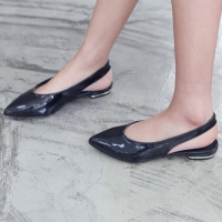 Women's glossy black dark gray pointed toe sling back flats