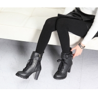Women's rock chic buckle synthetic leather combat sole high heels black lace up ankle boots