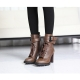 Women's rock chic buckle synthetic leather combat sole high heels brown lace up ankle boots