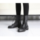 Women's rock chic synthetic leather combat sole side zip closure black lace up ankle boots