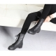 Women's rock chic buckle synthetic leather combat sole side zip closure black lace up ankle boots