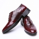 Men's wingtip snake embossed wine synthetic leather lace up oxfords