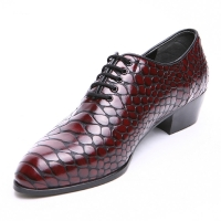 Men's pointed toe snake embossed wine synthetic leather lace up high heels oxfords