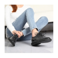 Women's synthetic leather round toe wing tip lace up oxfords espadrille flats black