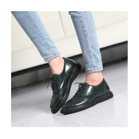 Women's synthetic leather round toe wing tip lace up oxfords espadrille flats green