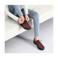Women's synthetic leather round toe wing tip lace up oxfords espadrille flats red