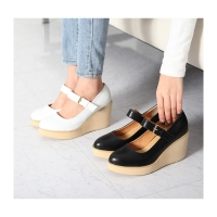 Women's synthetic leather round toe high platform wedge heels mary  jane shoes