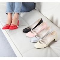 Women's glossy synthetic leather round toe mary-jane beads moons heels pumps black pink red beige silver