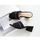 Women's synthetic suede peep toe fringe studded black mules
