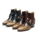 HAND-MADE Men's black real Leather contrast patch studded side zip western ankle bike rider boots