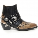 "HAND-MADE Men's black real Leather contrast patch studded side zip western ankle bike rider boots 2.17""heels"