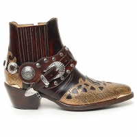 "HAND-MADE Men's brown real Leather contrast patch studded side zip western ankle bike rider boots 2.17""heels"