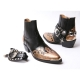HAND-MADE Men's black real Leather contrast snake pattern patch studded side zip western ankle bike rider boots