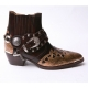 HAND-MADE Men's brown real Leather contrast snake pattern patch studded side zip western ankle biker boots