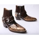 HAND-MADE Men's brown real Leather contrast snake pattern patch studded side zip western ankle bike rider boots