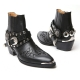 HAND-MADE Men's black real Leather front stitch studded side zip western ankle bike rider boots