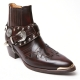 HAND-MADE Men's brown real Leather front stitch studded side zip western ankle biker boots