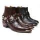 HAND-MADE Men's brown real Leather front stitch studded side zip western ankle bike rider boots