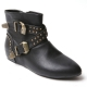 women's rock chic studded double buckle side zip hidden wedge black boots  US5.5