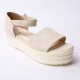 Women's synthetic leather peep toe matt beige platform ankle strap sandals US6.5