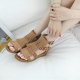 Women's synthetic suede fringe back zip ankle buckle wedge peep toe brown sandals