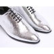 Mens plain toe glitter silver lace up high heels oxfords