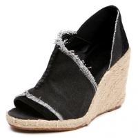 Women's peep toe cut out  black denim espadrille wedge heels sandals