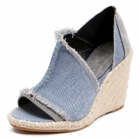 Women's peep toe cut out  blue denim espadrille wedge heels sandals