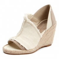 Women's peep toe cut out  beige denim espadrille wedge heels sandals