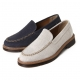 Men's synthetic fabric rubber sole navy beige casual loafers