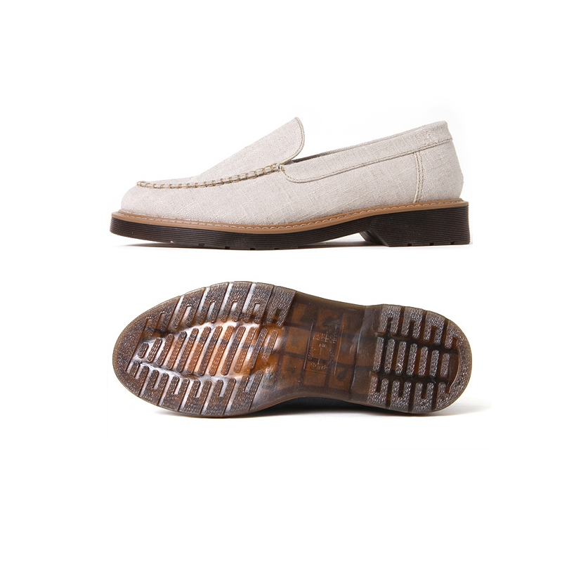 Men S Synthetic Fabric Rubber Sole Navy Beige Casual Loafers