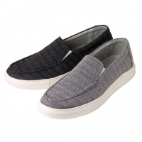 Men's synthetic fabric rubber sole black gray casual slip-on sneakers