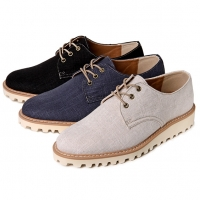 Men's synthetic fabric comfy sponge sole black beige navy casual lace ups sneakers