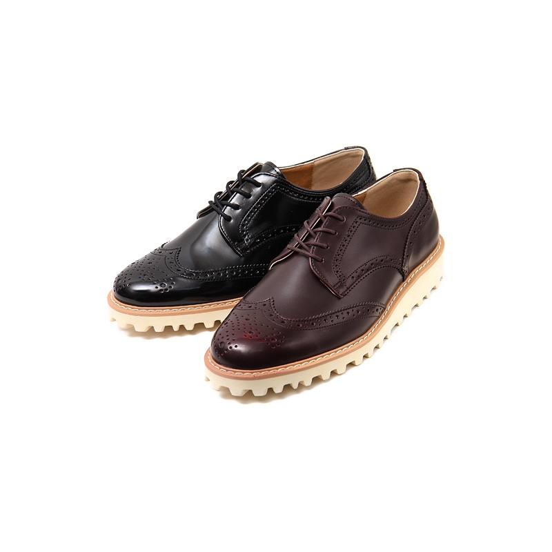 Wingtips Round Toe Black Synthetic Leather Lace Up Sopnge