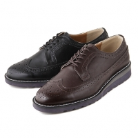 Men's synthetic leather punched wing tips round toe lace ups shoes black brown