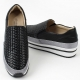 Women's synthetic leather weave thick platform slip-on insert elastic gores sneakers black