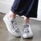 Women's vintage glitter silver star patch lace ups sneakers
