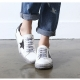 women's vintage oiled star patched lace ups sneakers white