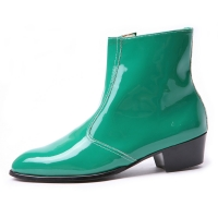 Men's synthetic leather glossy green side zip high heel ankle boots made in KOREA US 5.5-10.5