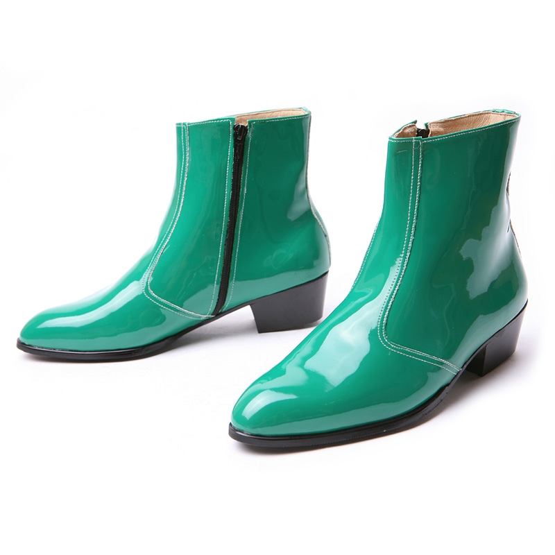 "Men/'s glossy green side zipper hand made KOREA 1.77/"" cuban heels ankle boots"