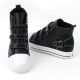 women's 4 buckle sneakers high top zipper shoes black