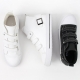 women's 4 buckle sneakers high top zipper shoes white