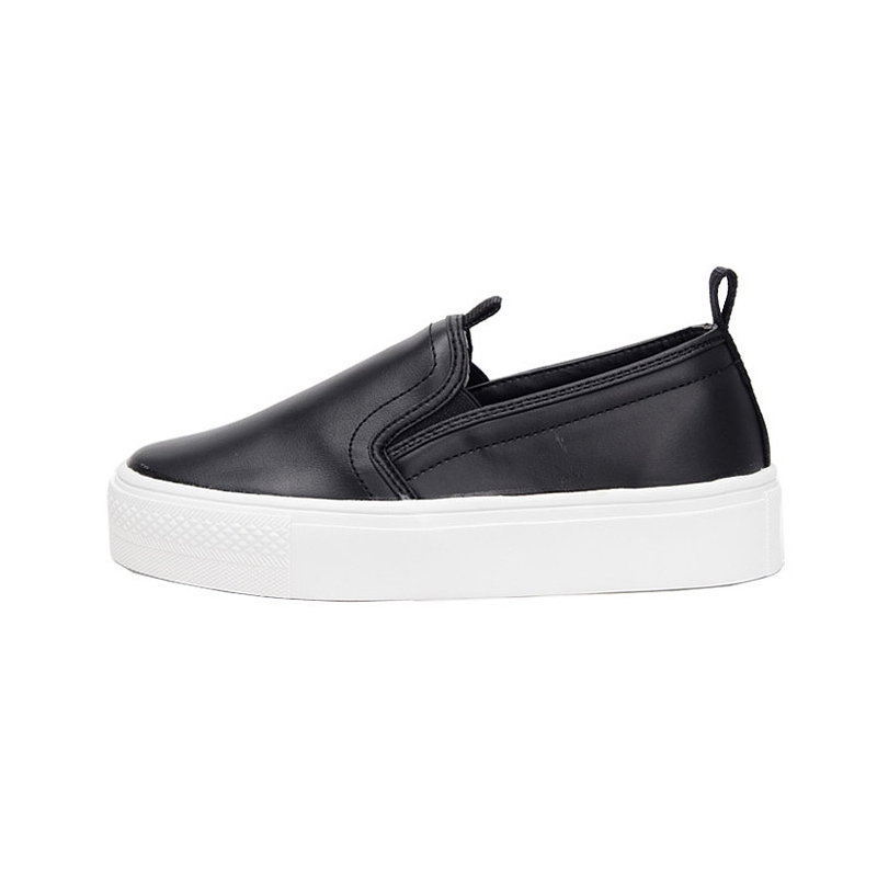 Women S Synthetic Leather Round Toe Rubber Sole Slip On