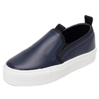 Women's synthetic leather round toe rubber sole slip-on sneakers navy