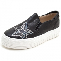 Women's vintage synthetic leather glitter spangle round toe thick platform slip-on sneakers black