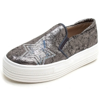Women's vintage synthetic leather glitter spangle round toe thick platform slip-on sneakers gray
