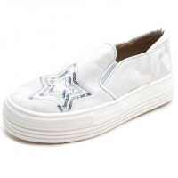 Women's vintage synthetic leather glitter spangle round toe thick platform slip-on sneakers silver