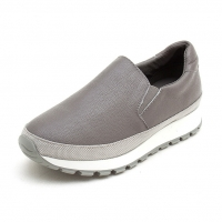 Women's synthetic leather thick platform slip-on insert elastic gores sneakers gray