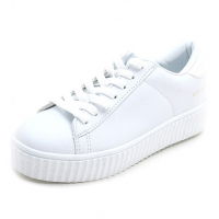 Women's synthetic leather featuring a lace ups chunky platform  sneakers white